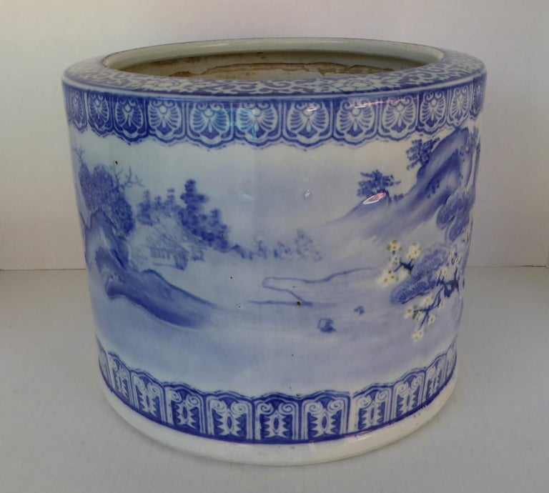 Mid-20th Century Blue & White Barrel Shaped Japanese Ceramic Hibachi Plum Blooms and Pine Trees For Sale