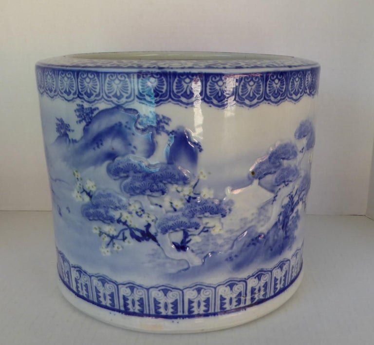 Blue & White Barrel Shaped Japanese Ceramic Hibachi Plum Blooms and Pine Trees For Sale 1