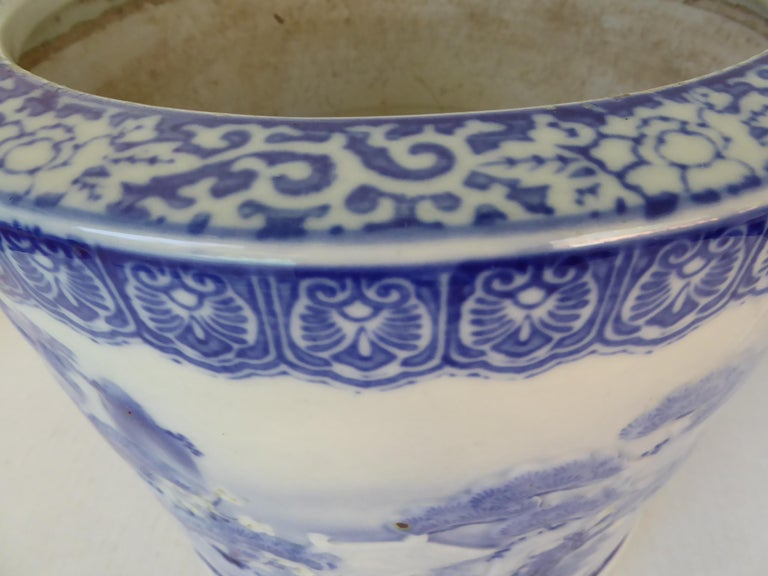 Blue & White Barrel Shaped Japanese Ceramic Hibachi Plum Blooms and Pine Trees For Sale 3