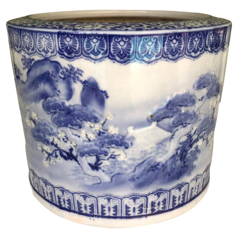 Blue & White Barrel Shaped Japanese Ceramic Hibachi Plum Blooms and Pine Trees For Sale