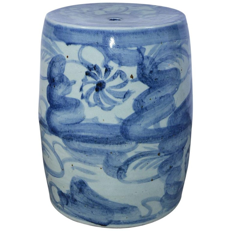 Blue White Chinese Garden Seat or Table For Sale
