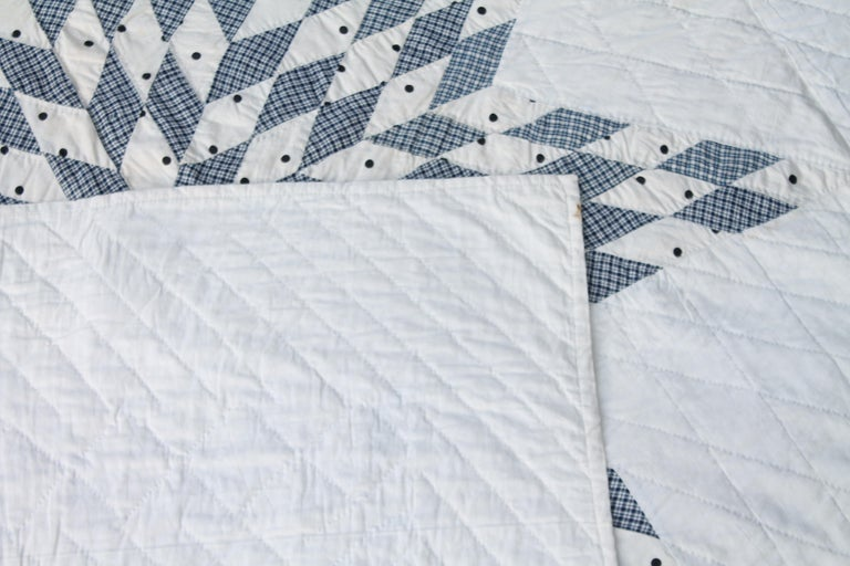 Cotton Blue and White Eight Point Star Quilt For Sale