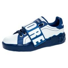Blue/White Elastic Logo Leather Melt Portofino Sneakers Size 36