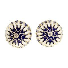 Blue White Enamel Diamond Gold Domed Clip Post Domed Earrings