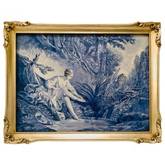 Blue & White French Ceramic Plaque of a Boy Spying on a Beautiful Lady Dressing
