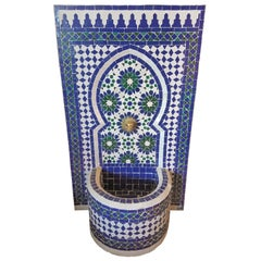 Blue/White/Green Moroccan Mosaic Tile Fountain