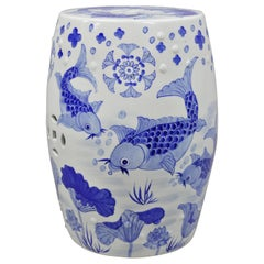 Blue & White Koi Fish Porcelain Chinese Oriental Drum Garden Seat Pedestal