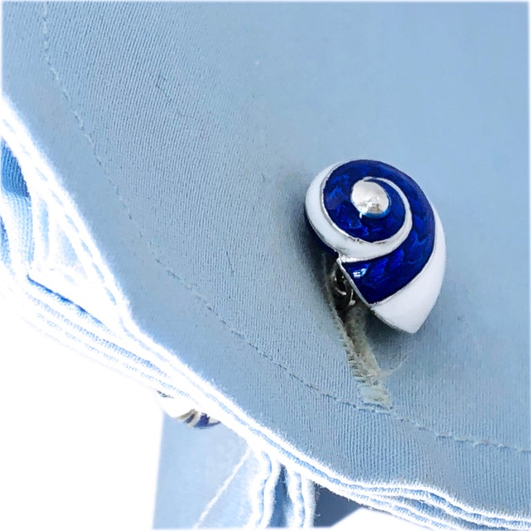 Blue White Light Blue Hand Enameled Seashell Shaped Sterling Silver Cufflinks For Sale 6