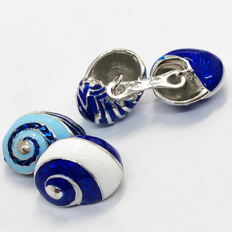 Blue White Light Blue Hand Enameled Seashell Shaped Sterling Silver Cufflinks For Sale 8