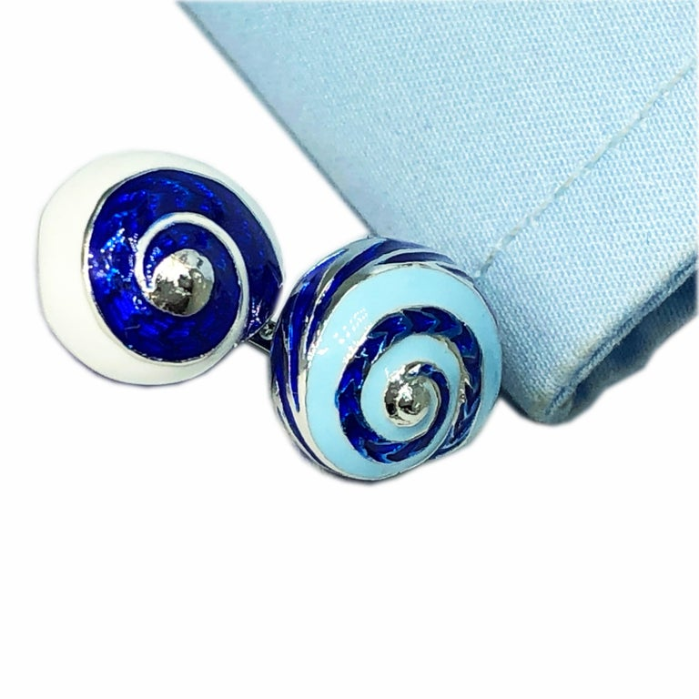 Blue White Light Blue Hand Enameled Seashell Shaped Sterling Silver Cufflinks For Sale 11