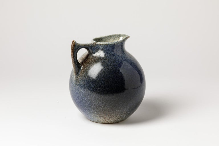French Blue and White Porcelain Ceramic Pitcher by Tim Orr circa 1975 Midcentury Design For Sale