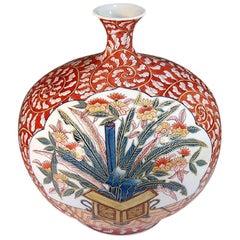 Blue White Red Porcelain Vase by Contemporary Japanese Master Artist