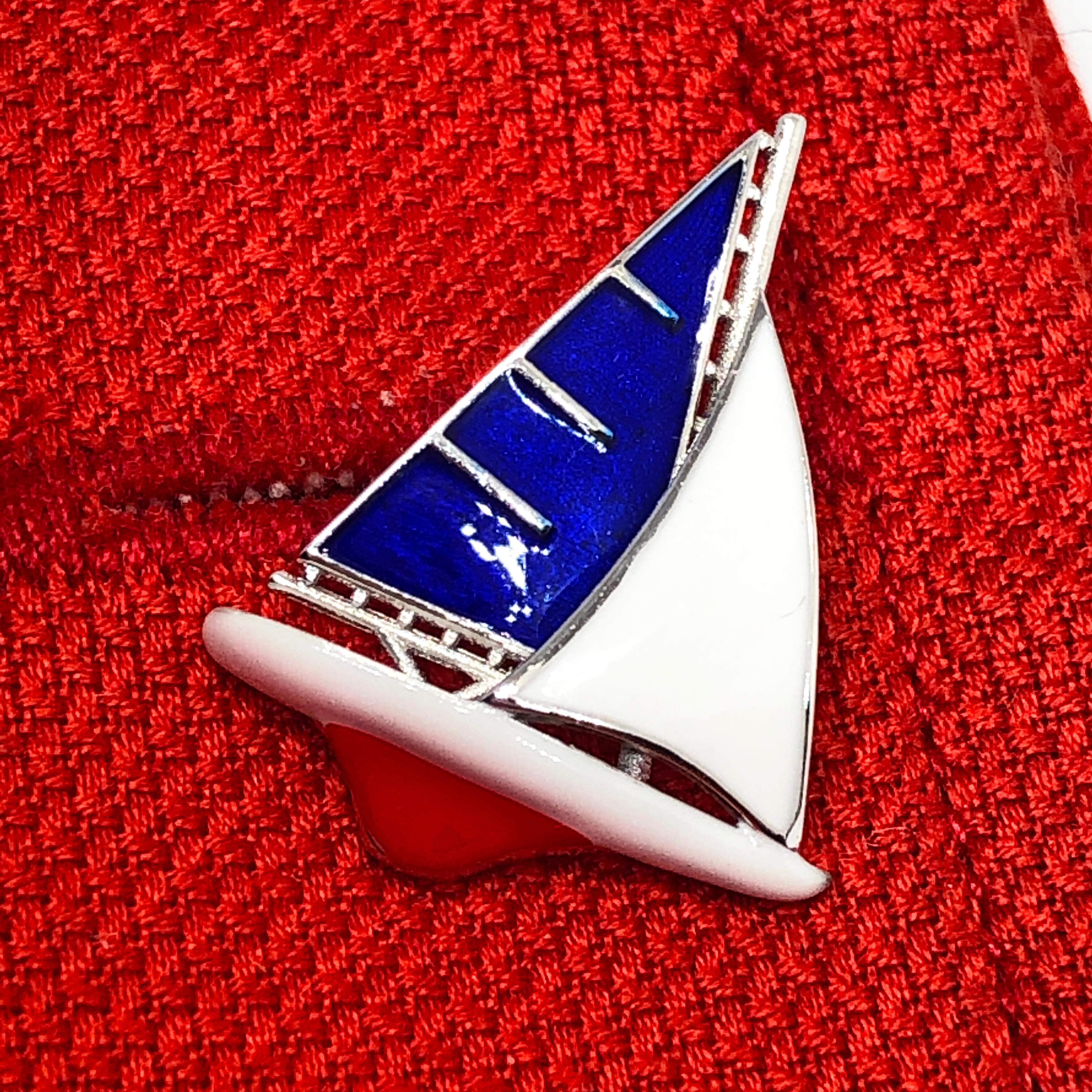 Sterling Silver and Blue Enamel Yacht or Sailboat Bar Cufflinks