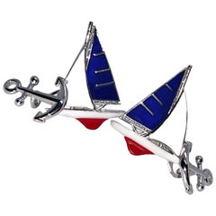 Blue White Red Sailing Boat Shaped Little Anchor Back Sterling Silver Cufflinks