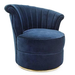 Blue Wing Right Armchair with Blue or Red Velvet Fabric