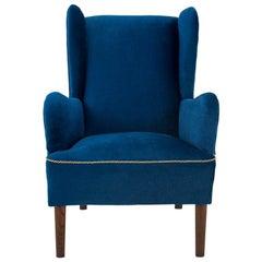 Blue Wingback Chair, Scandinavia, 1950s