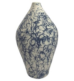 Blue with White Confetti Design Hand Made Vase, Italy, Contemporary