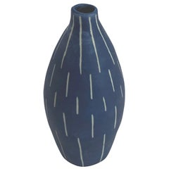 Blue with White Dashes Design Hand Made Vase, Italy, Contemporary