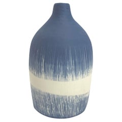Blue with White Grass Blades Design Hand Made Vase, Italy, Contemporary