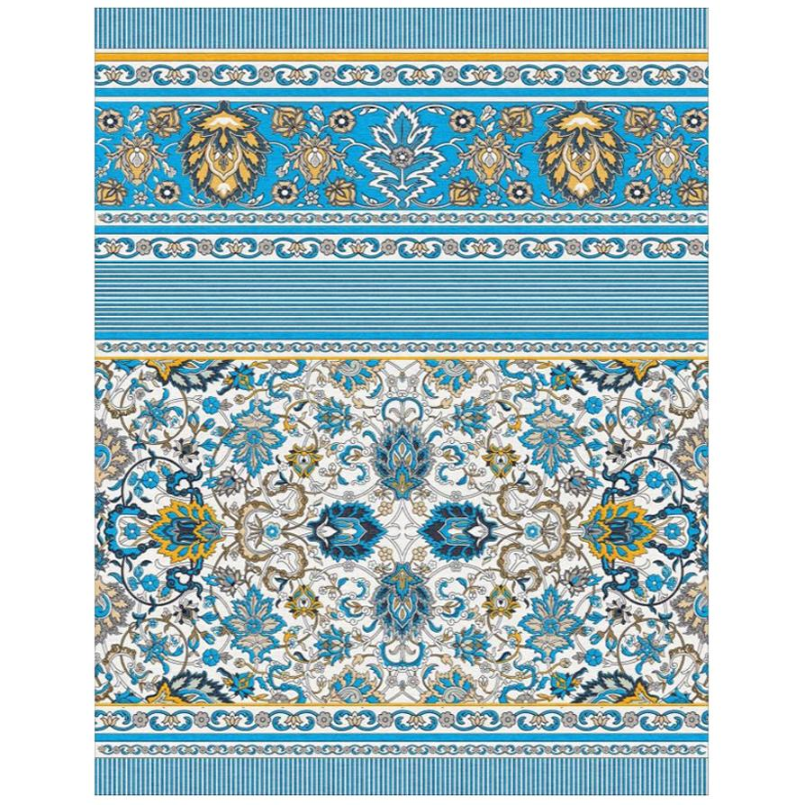 Blue Yellow Classic Wool Rug Hand Knotted