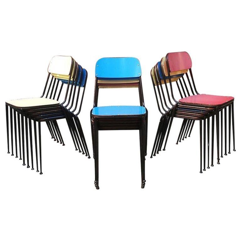 Blue, Yellow or Red Laminate Chairs, 1950s For Sale