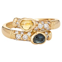 Blue & Yellow Sapphire Diamond Bypass Band Vintage 18k Yellow Gold Ring
