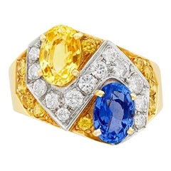 Blue Yellow Sapphire Diamond Gold Ring