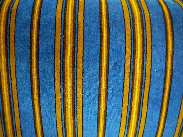 French Napoleon III cotton velvet cushion in smart stripes of blue, brown and yellow. Self-backed and slip-stitched closed with a duck feather cushion pad.