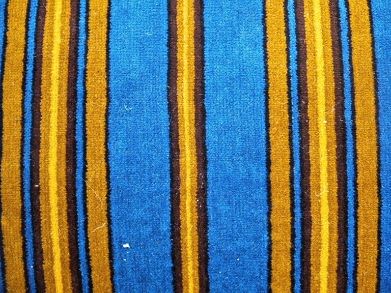 Blue Yellow Striped Cotton Velvet Pillow Napoleon III French In Good Condition For Sale In London, GB