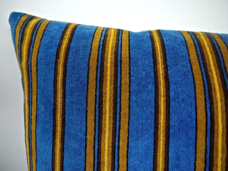 19th Century Blue Yellow Striped Cotton Velvet Pillow Napoleon III French For Sale