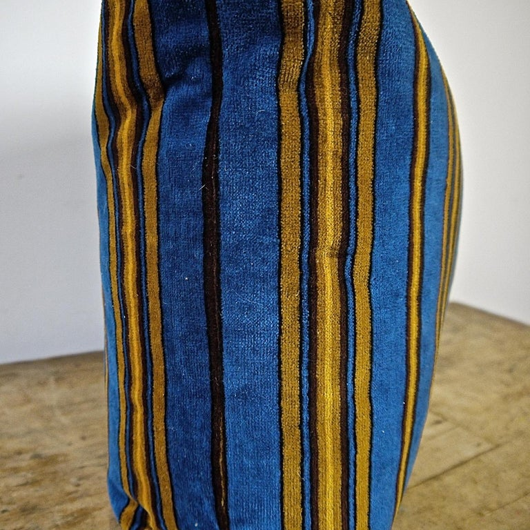 Blue Yellow Striped Cotton Velvet Pillow Napoleon III French For Sale 1