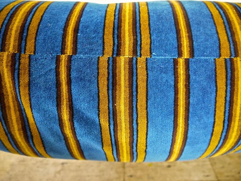 Blue Yellow Striped Cotton Velvet Pillow Napoleon III French For Sale 2