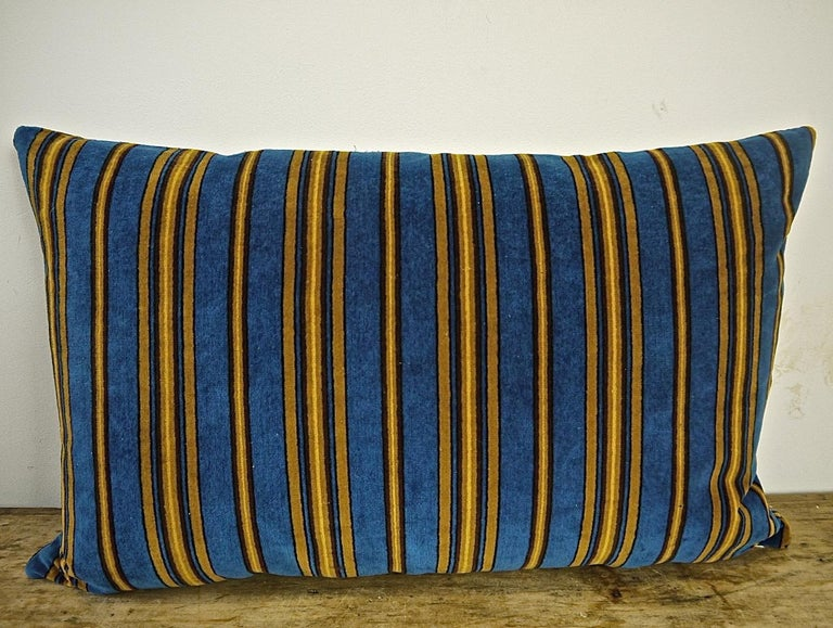 Blue Yellow Striped Cotton Velvet Pillow Napoleon III French For Sale 3