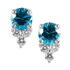 Blue Zircon and Diamond Earrings