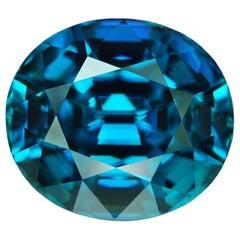 Blue Zircon Ring Gem 16.48 Carat Oval