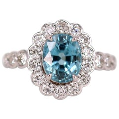 Blue Zircon and Diamond Cluster Ring