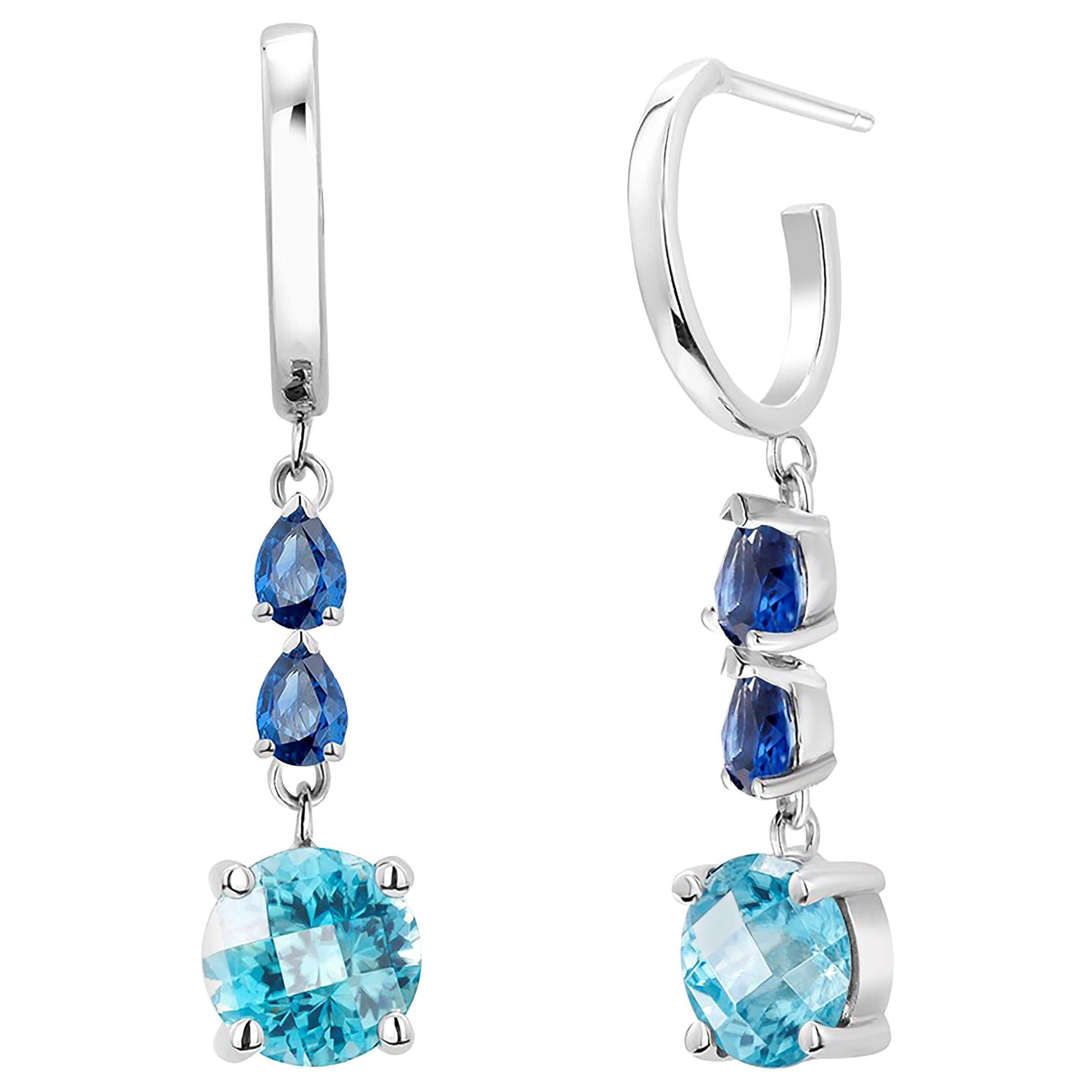 Blue Zircon and Pear Sapphire Gold Hoop Drop Earrings Weighing 5.50 Carat, Pair