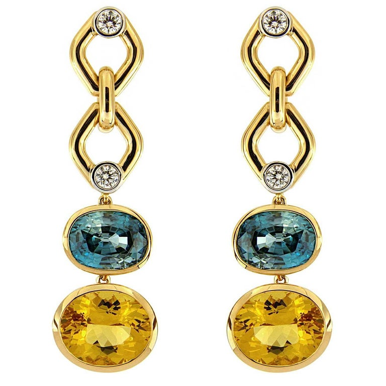 Blue Zircon and Yellow Beryl with Round Brilliant cut Diamonds Earrings