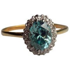 Blue Zircon Diamond 18 Karat Gold Platinum Cluster Ring