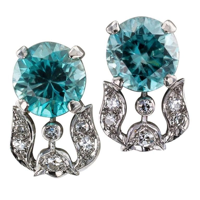 Blue Zircon Diamond Art Deco 1930s Platinum Ear Clips
