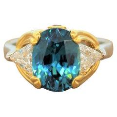 Blue Zircon Diamond Platinum Gold Ring