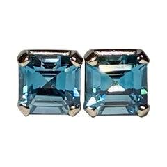Blue Zircon Earrings in 14Kt White Gold