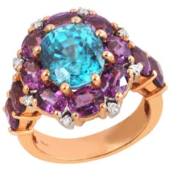 Blue Zircon, Garnet with Diamond Ring Set in 18 Karat Rose Gold Settings