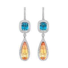 Blue Zircon, Imperial Topaz and White Diamond Empress Drop Earrings