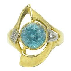 Blue Zircon Retro Cocktail Ring Art Deco Gemstone Yellow Gold Statement Jewelry
