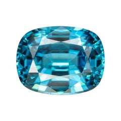 Blue Zircon Ring Gem 14.76 Carat Rectangular Unset Cushion Loose Gemstone