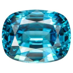 Blue Zircon Ring Gem 14.76 Carat Rectangular Unset Cushion Loose Gemstone