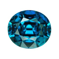Blue Zircon Ring Gem 16.48 Carat Oval Loose Gemstone