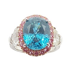 Blue Zircon with Pink Sapphire, White Sapphire Ring set in 18 Karat White Gold