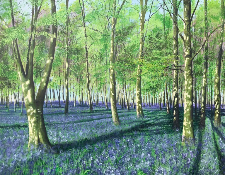 English Bluebell Howe Wood Contemporary Landscape Painting For Sale